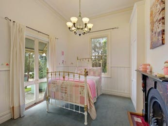 Children's room bedroom design idea with carpet & fireplace using white colours - Bedroom photo 524485