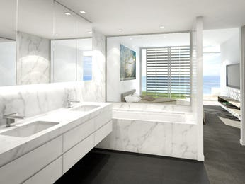 Modern bathroom design with recessed bath using marble Bathroom