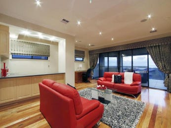 Open plan living room using grey colours with floorboards & floor-to-ceiling windows - Living Area photo 8705725