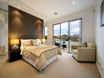 Modern bedroom design idea with carpet & bi-fold windows using black colours - Bedroom photo 129588