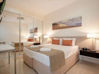 Modern bedroom design idea with tiles & bi-fold windows using black colours - Bedroom photo 130578