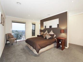 Modern bedroom design idea with carpet & balcony using beige colours - Bedroom photo 131361