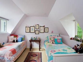 Children's room bedroom design idea with carpet & louvre windows using white colours - Bedroom photo 132408
