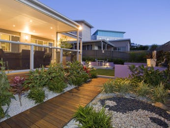 Landscaped garden design using bluestone with bbq area & ground lighting - Gardens photo 183945