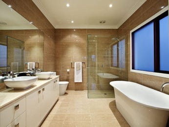 Modern bathroom design with corner bath using ceramic - Bathroom Photo 185323