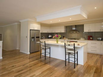 Modern island kitchen design using hardwood Kitchen