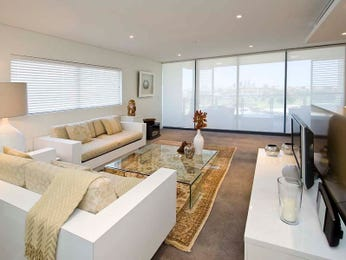 Open plan living room using black colours with carpet & bay windows - Living Area photo 186622