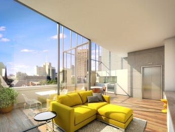Open plan living room using grey colours with floorboards & floor-to-ceiling windows - Living Area photo 14822149