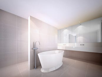Modern bathroom design with freestanding bath using ceramic - Bathroom Photo 8551553