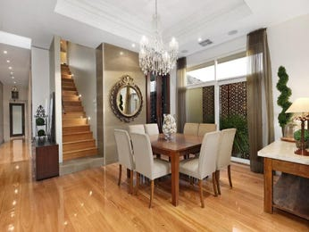 Classic dining room idea with hardwood & floor-to-ceiling windows - Dining Room Photo 190480