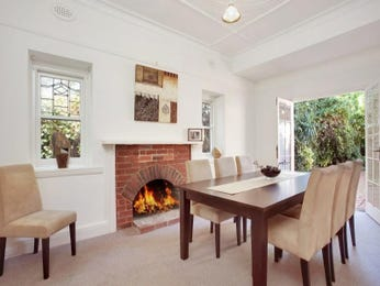 Casual dining room idea with carpet & fireplace - Dining Room Photo 195672