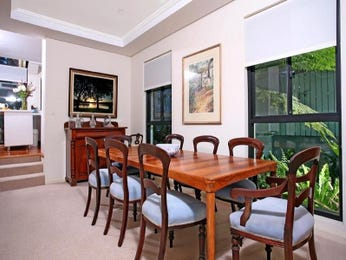 Country dining room idea with polished concrete & louvre windows - Dining Room Photo 451337