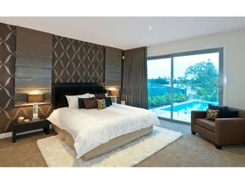 Classic bedroom design idea with carpet & floor-to-ceiling windows using beige colours - Bedroom photo 244207