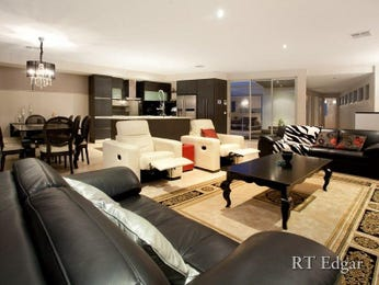 Dining-living living room using grey colours with carpet & bi-fold doors - Living Area photo 247065