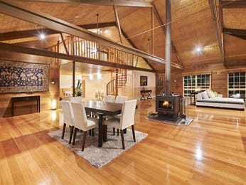 Country dining room idea with floorboards & exposed eaves - Dining Room Photo 8064021