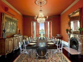 Period dining room idea with floorboards & bay windows - Dining Room Photo 339761