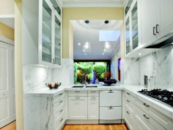French provincial kitchen-dining kitchen design using frosted glass - Kitchen Photo 250388