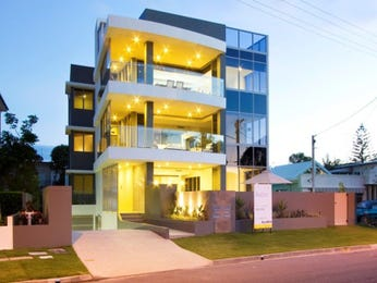 Glass modern house exterior with balcony & decorative lighting - House Facade photo 496410