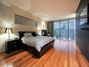 Modern bedroom design idea with floorboards & floor-to-ceiling windows using grey colours - Bedroom photo 7235701