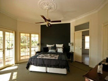 Modern bedroom design idea with carpet & balcony using black colours - Bedroom photo 255137