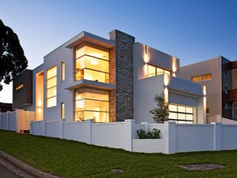Concrete modern house exterior with balcony & decorative lighting - House Facade photo 255834