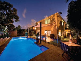 In-ground pool design using pavers with bbq area & decorative lighting - Pool photo 454548