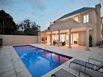 In-ground pool design using pavers with outdoor dining & decorative lighting - Pool photo 463945