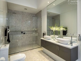 Modern bathroom design with twin basins using frameless glass - Bathroom Photo 6884005