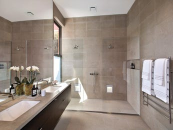 Modern bathroom design with twin basins using frameless glass - Bathroom Photo 16899545