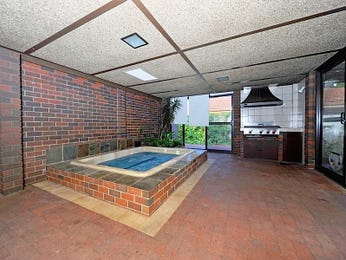In-ground pool design using brick with cabana & decorative lighting - Pool photo 1453100