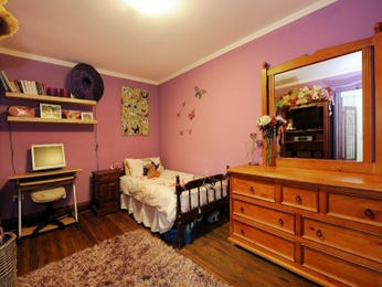 Children's room bedroom design idea with floorboards & built-in desk using brown colours - Bedroom photo 1414149