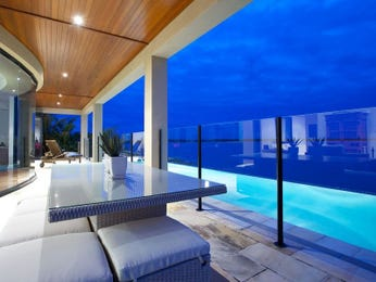 Indoor-outdoor outdoor living design with balcony & decorative lighting using glass - Outdoor Living Photo 308904
