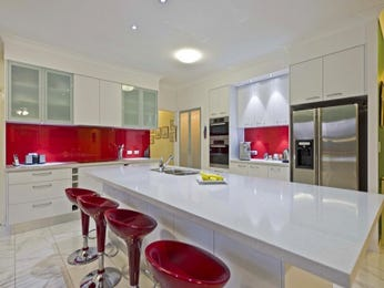 Modern island kitchen design using frosted glass - Kitchen Photo 1464046