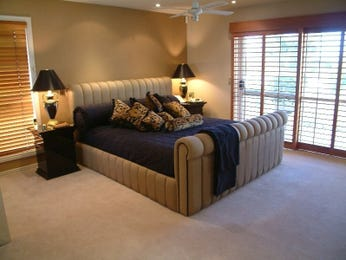 Country bedroom design idea with carpet & floor-to-ceiling windows using neutral colours - Bedroom photo 1448960