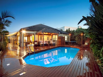 In-ground pool design using timber with gazebo & decorative lighting - Pool photo 1162214