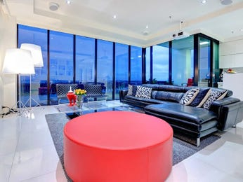 Open plan living room using black colours with leather & floor-to-ceiling windows - Living Area photo 8724653