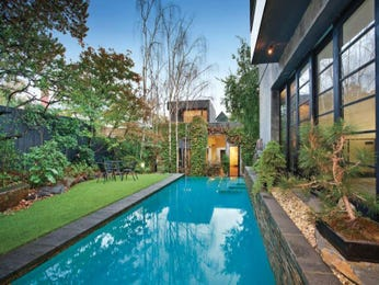 Endless pool design using bluestone with pool fence & outdoor furniture setting - Pool photo 1323851