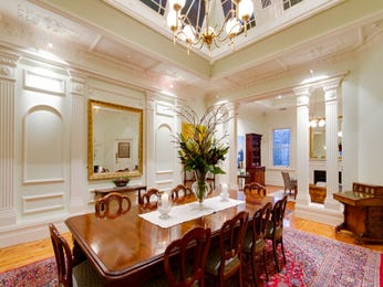 Formal dining room idea with floorboards & exposed eaves - Dining Room Photo 1351593
