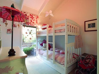 Children's room bedroom design idea with carpet & bi-fold windows using cream colours - Bedroom photo 315129