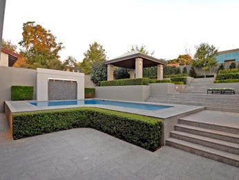 In-ground pool design using slate with outdoor dining & decorative lighting - Pool photo 395853