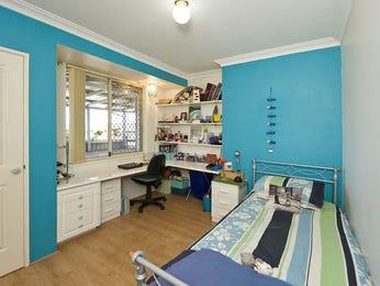 Children's room bedroom design idea with hardwood & built-in desk using blue colours - Bedroom photo 777207
