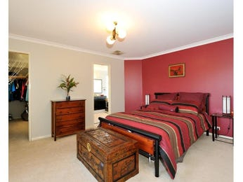 Bedroom ideas with feature wall in red Red and cream bedroom ideas