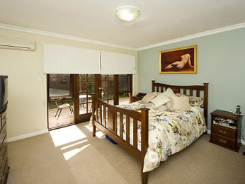 Classic bedroom design idea with floorboards & french doors using green colours - Bedroom photo 1249348