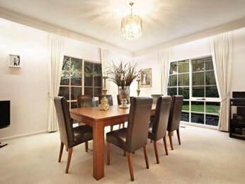 Classic dining room idea with carpet & french doors - Dining Room Photo 529716