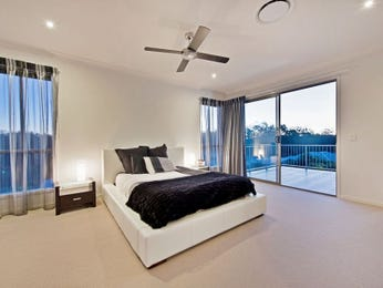 Classic bedroom design idea with carpet & balcony using black colours - Bedroom photo 1516395