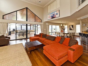 Dining-living living room using beige colours with floorboards & floor-to-ceiling windows - Living Area photo 651376