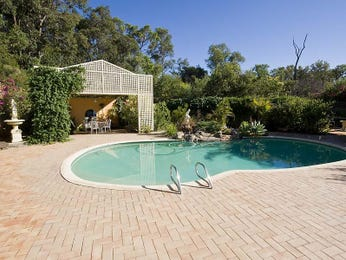 Freeform pool design using grass with outdoor dining & hedging - Pool photo 779961