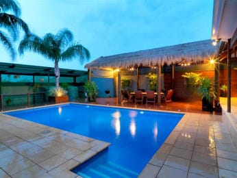 In-ground pool design using tiles with outdoor dining & decorative lighting - Pool photo 719544