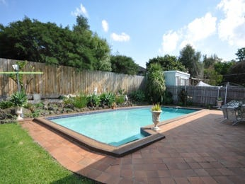 In-ground pool design using grass with retaining wall & hedging - Pool photo 1169365