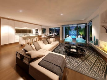 Open plan living room using brown colours with carpet & floor-to-ceiling windows - Living Area photo 1550232